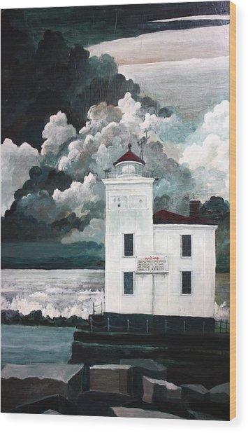 Lighthouse At Mentor Headlands Wood Print