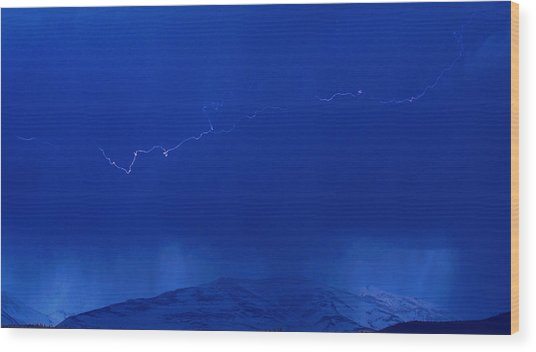 Lightning Wood Print by Peter Bolton