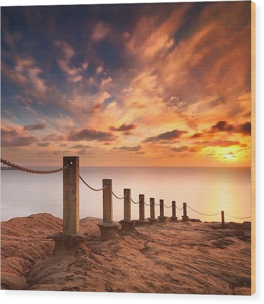 Long Exposure Sunset Taken From The Wood Print by Larry Marshall