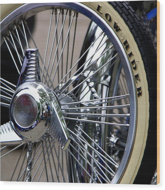 Low Rider And Silver Spokes - II Wood Print by Tam Graff