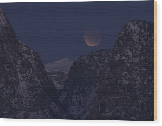 Lunar Eclipse Grand Teton National Park Wood Print