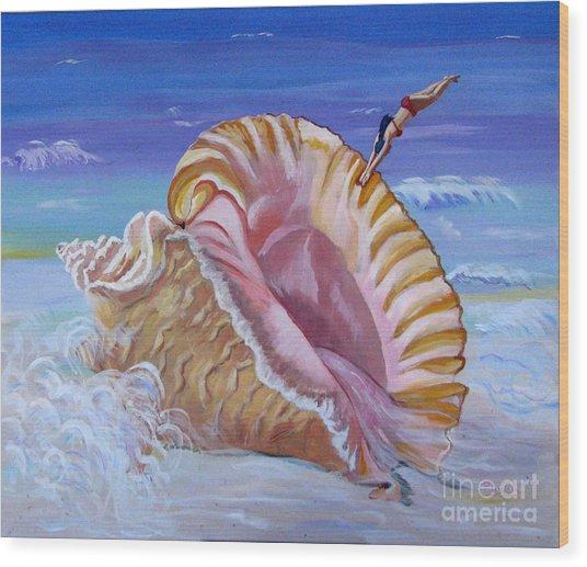 Magic Conch Shell Wood Print