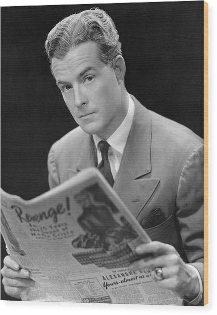 Man Reading Newspaper Wood Print by George Marks