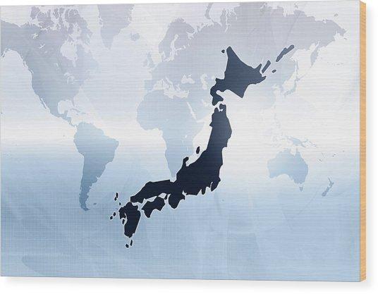 Map Of Japan Wood Print by Maciej Frolow