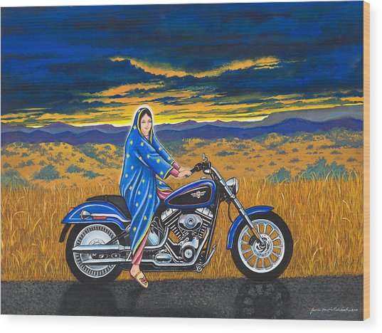 Mary And The Motorcycle Wood Print