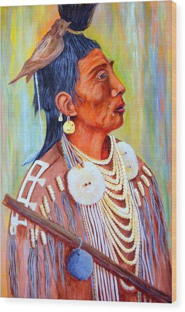 Medicine Crow-warrior Wood Print by Janna Columbus