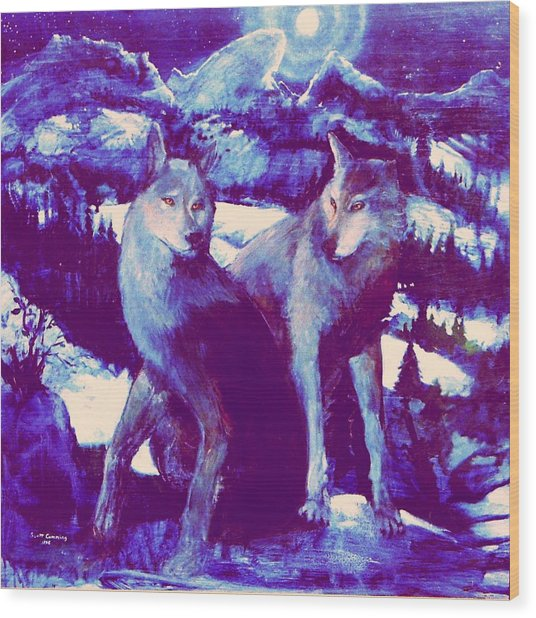 Midnight Wolves Wood Print
