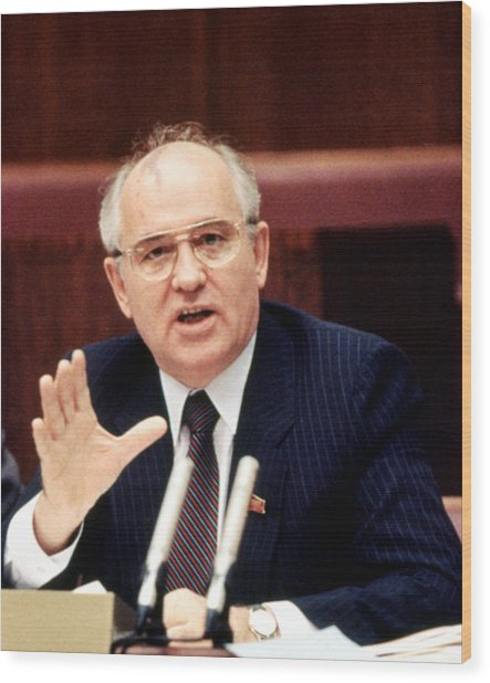 Mikhail Gorbachev During His Presidency Wood Print by Everett