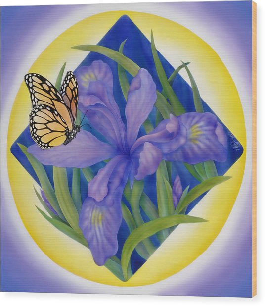 Monarch Butterfly And Iris Wood Print by Marcia  Perry