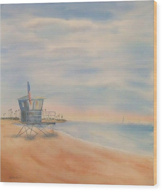 Morning By The Beach Wood Print