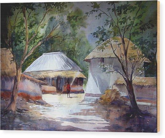 Morning Village Light Wood Print