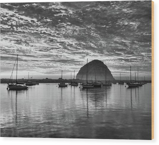 Morro Bay On Fire Wood Print