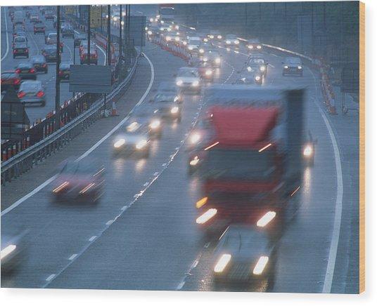 Motorway Traffic Wood Print by Jeremy Walker