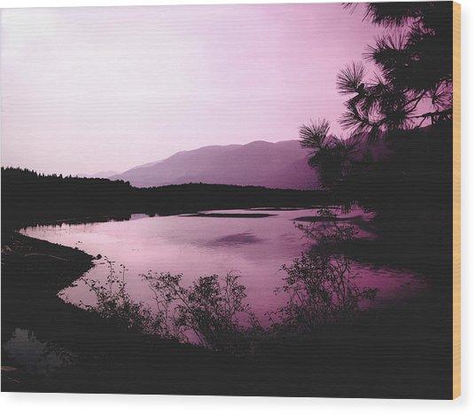 Mountain Twilight Wood Print by Ann Powell