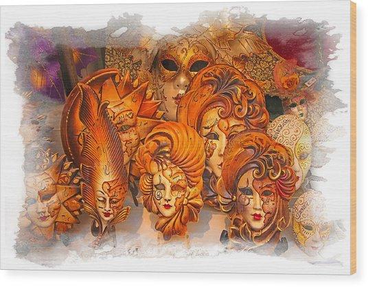 Music Masks Wood Print