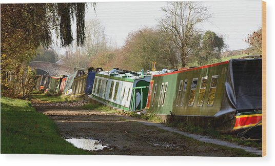 Narrow Boats Wood Print