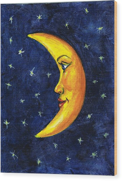 New Moon Wood Print