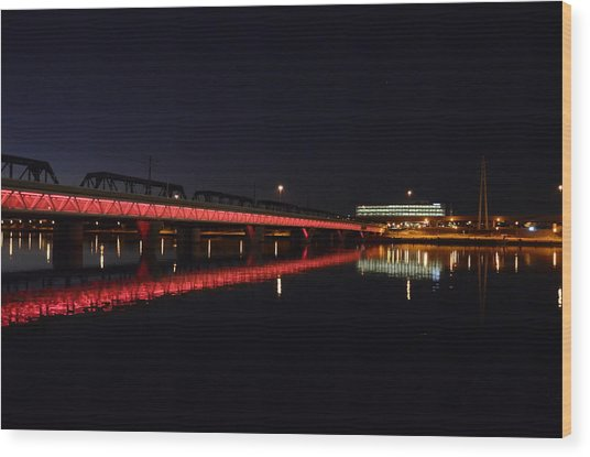 Night Lights Wood Print by Alberto Sanchez