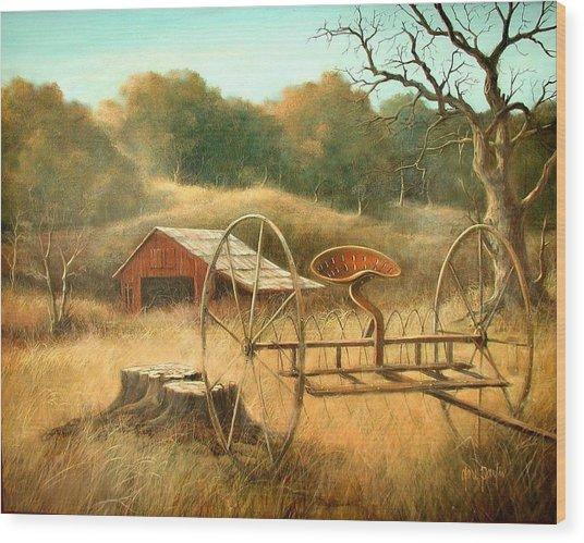 Old Barn And Hay Rake Wood Print