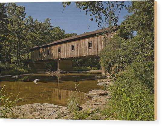 Olins Road Covered Bridge Wood Print