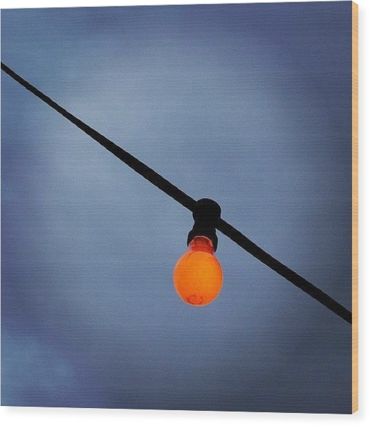 Orange Light Bulb Wood Print by Matthias Hauser