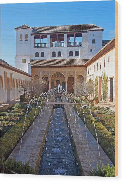 Palace Of The Generalife Wood Print
