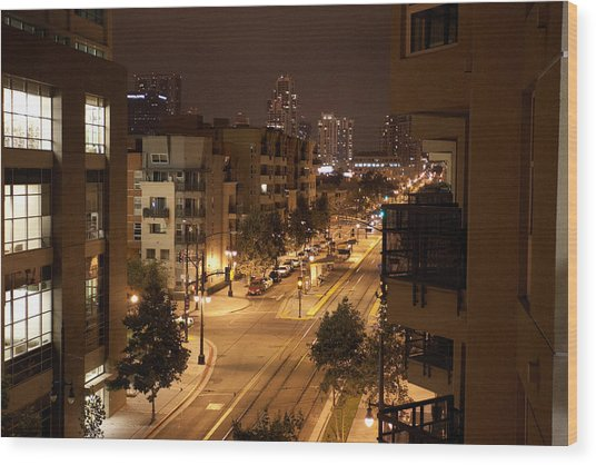 Park Blvd Night Wood Print
