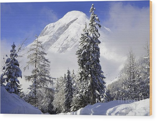Peak In The Alps Wood Print