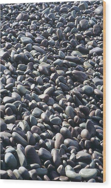 Pebbles On A Beach Wood Print by David Aubrey