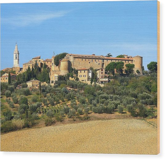 Pienza On The Hill Wood Print