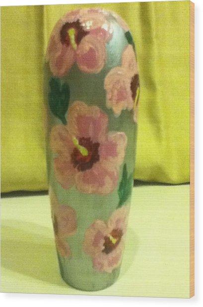 Pink Hibiscus Wood Print by Berta Barocio-Sullivan