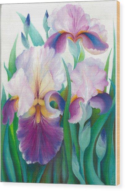 Pink Iris Wood Print