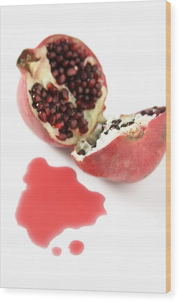 Pomegranate Wood Print by Veronique Leplat
