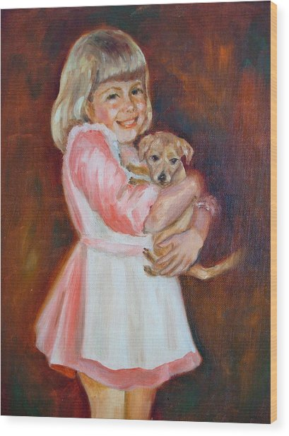 Puppy Love Wood Print by Holly LaDue Ulrich