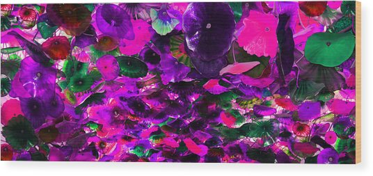 Purple Pink And Green Glass Flowers Wood Print