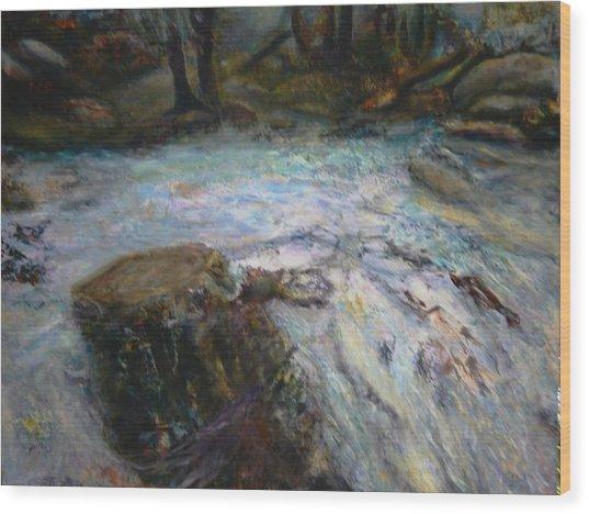 Raging River Wood Print by Sylva Zalmanson