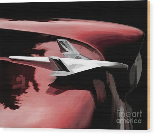 Red Chevy Jet Wood Print