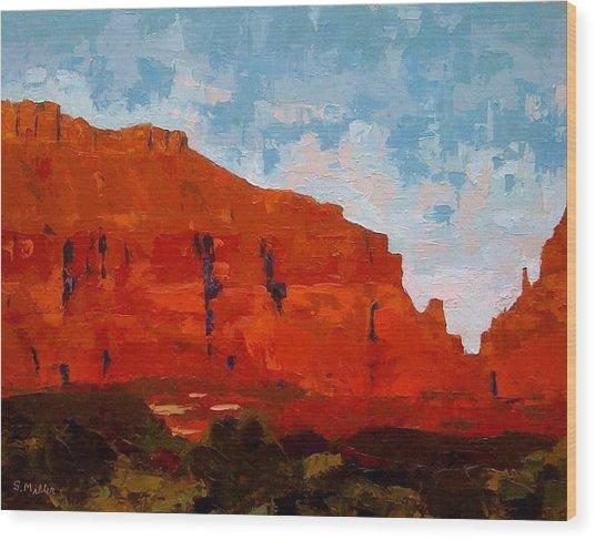 Red Cliffs Wood Print