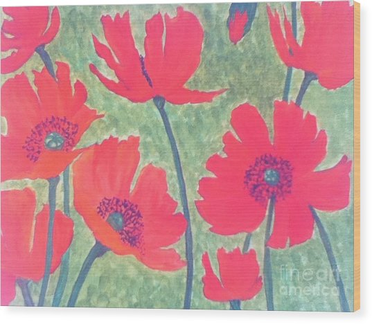 Red Poppies Wood Print by Berta Barocio-Sullivan