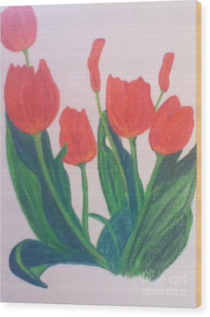 Red Tulips Wood Print by Berta Barocio-Sullivan
