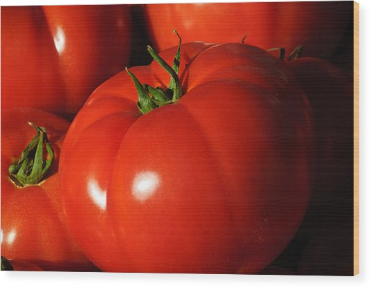 Ripe Tomatoes Wood Print by Connie Cooper-Edwards