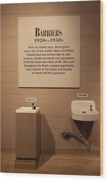 Segregated Water Fountains On Display Wood Print by Everett