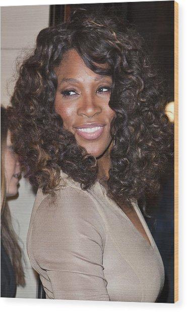 Serena Williams At Arrivals Wood Print