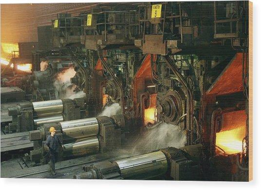 Sheet Mill Processing Molten Metal Wood Print by Ria Novosti