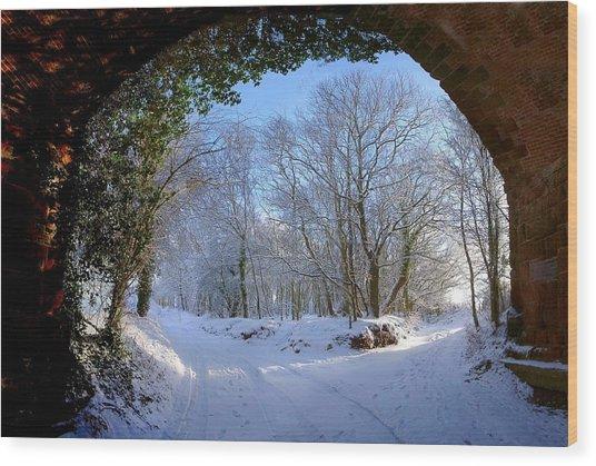 Snow Through The Bridge Wood Print