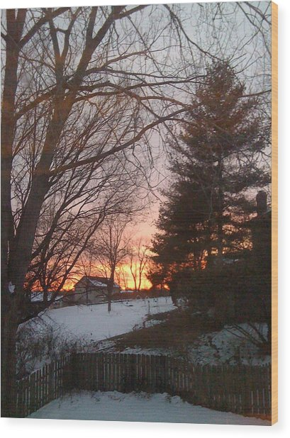 Snowy Winter Sunset Wood Print
