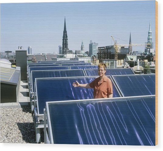 Solar Heat Collectors, Germany Wood Print by Martin Bond