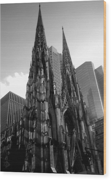 St. Patrick's Cathedral Wood Print by MikAn 'sArt