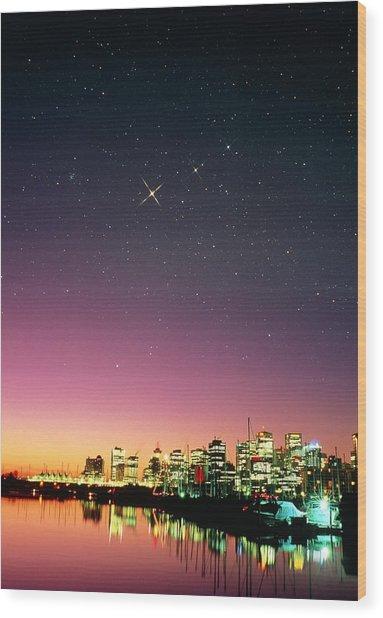 Starry Sky Over Vancouver Wood Print by David Nunuk