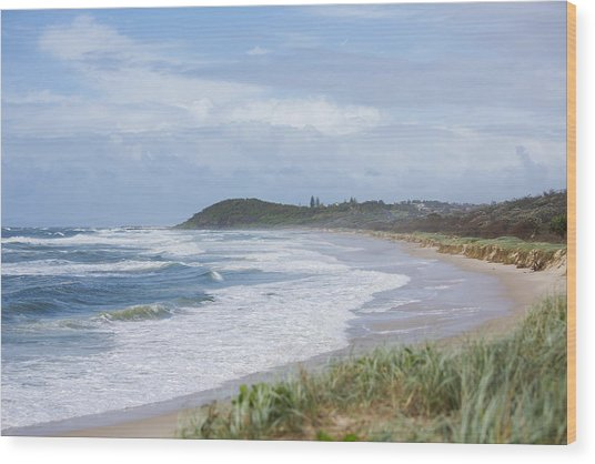 Storm Swell Waves On A Beach Wood Print by David Freund